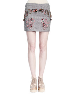 Stella McCartney Corded Rope-Applique Tweed Skirt