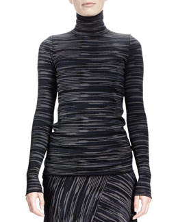 Stella McCartney Long-Sleeve Space-Dyed Turtleneck Top