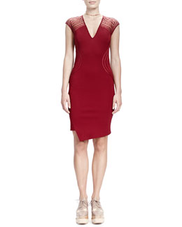 Stella McCartney Cap-Sleeve V-Neck Wave-Shoulder Sheath Dress, Ruby