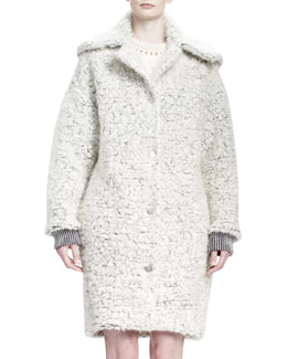 Stella McCartney Soft Wooly Boucle Caban Coat, Natural White
