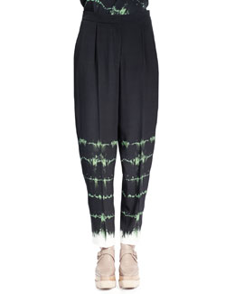 Stella McCartney Relaxed-Leg Tie-Dye Pants, Emerald/Multi