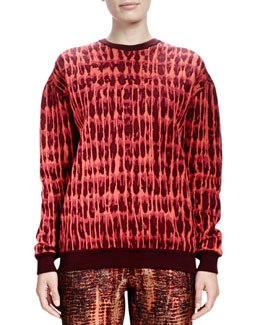 Stella McCartney Long-Sleeve Quilted Jacquard Sweatshirt