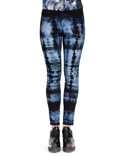 Stella McCartney Tie-Dye Skinny Ankle Jeans, Dark Blue
