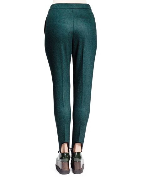 Relaxed Narrow-Leg Stirrup Pants, Emerald