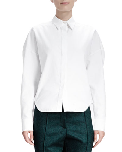 Stella McCartney Long-Sleeve Cotton Pique Blouse, Blanco White