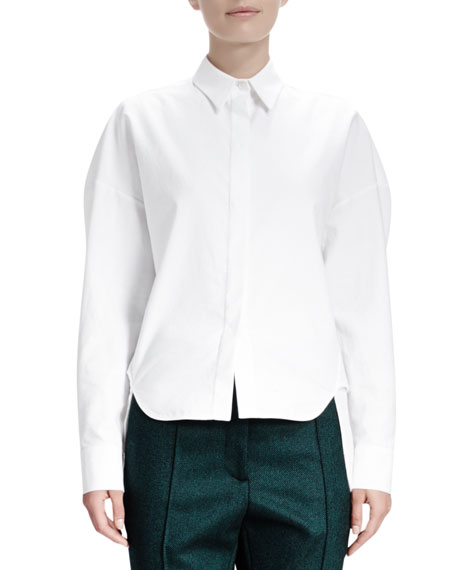 Long-Sleeve Cotton Pique Blouse, Blanco White