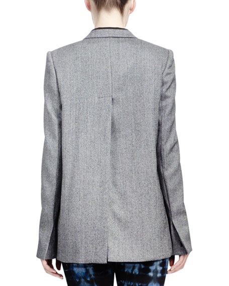 Melange Jacket with Split Back, Gray