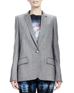 Stella McCartney Melange Jacket with Split Back, Gray