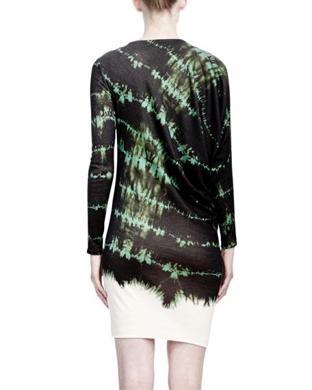 Long-Sleeve Crewneck Tie-Dye Dress