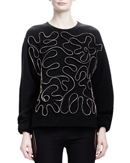 Stella McCartney Zipper-Squiggle Sweater, Black