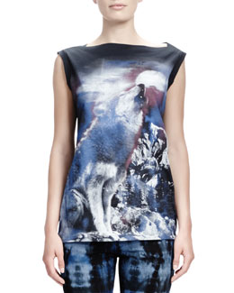 Stella McCartney Howling Wolf-Print Tee, Midnight