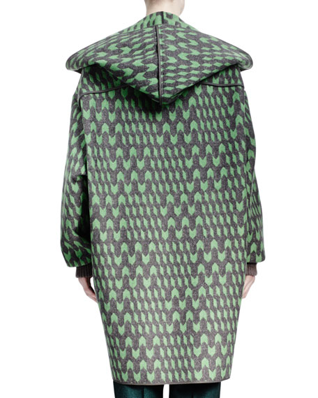 Geometric Wool Jacquard Caban Coat
