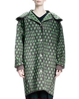 Stella McCartney Geometric Wool Jacquard Caban Coat