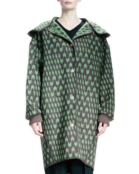 Geometric Wool Jacquard Caban Coat