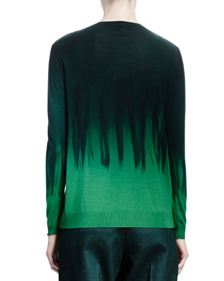 Long-Sleeve V-Neck Dip-Dye Sweater