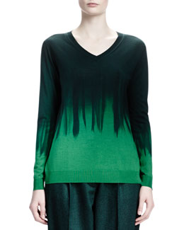 Stella McCartney Long-Sleeve V-Neck Dip-Dye Sweater