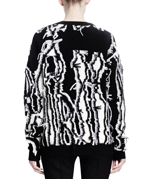 Abstract Shibori Fringe Sweater