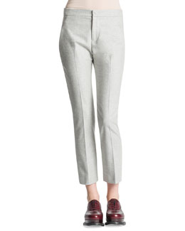 Jil Sander Slim-Leg Back-Yoke Flannel Pants, Gray