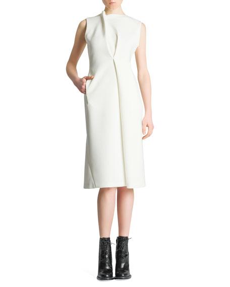 Sleeveless Asymmetric Drape Scuba Dress, Ivory