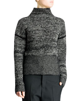 Jil Sander Funnel-Neck Bicolor Tweed Cashmere Sweater