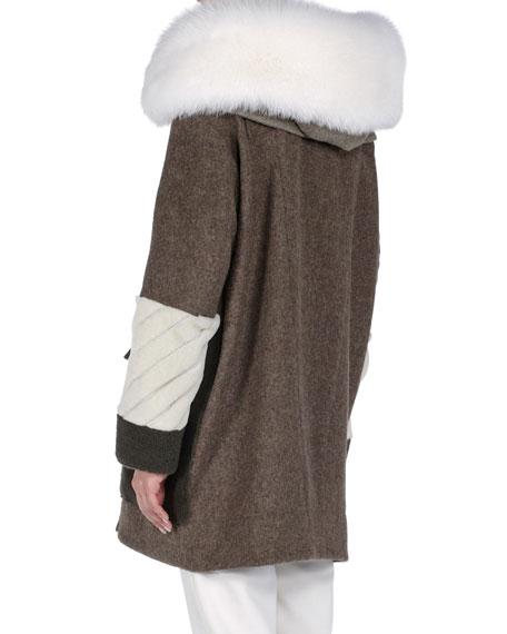 Hooded Mixed-Fur and Fleece Coat