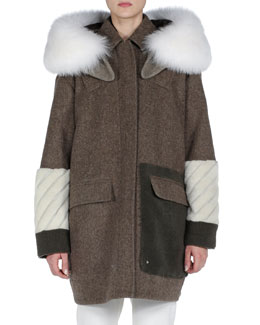 Fendi Hooded Mixed-Fur and Fleece Coat