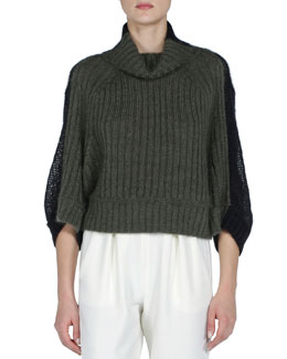 Fendi Colorblock Ribbed-Front Short Sweater