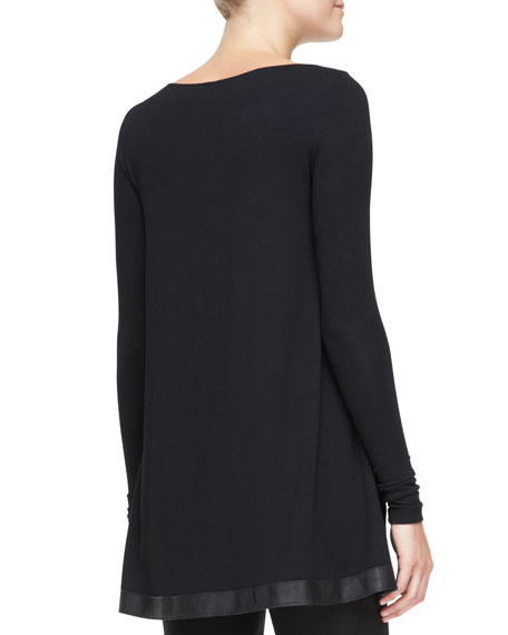Long-Sleeve Tunic with Leather Trim