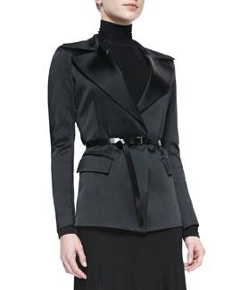 Donna Karan Belted Jacket with Sheer Back, Black