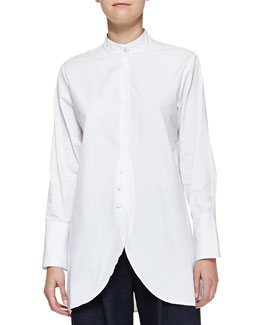 Adam Lippes Poplin Shirt with Placket, White