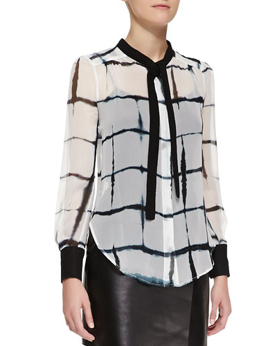 Adam Lippes Printed Long-Sleeve Tie-Neck Blouse, Black/White