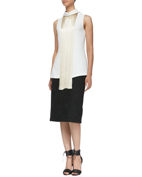 Bonded Lace Pencil Skirt, Black