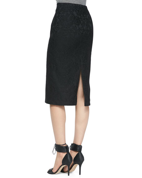 Bonded Lace Pencil Skirt, Black