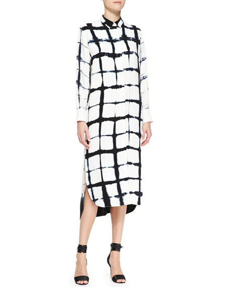 Long-Sleeve Printed Shirtdress, White/Black