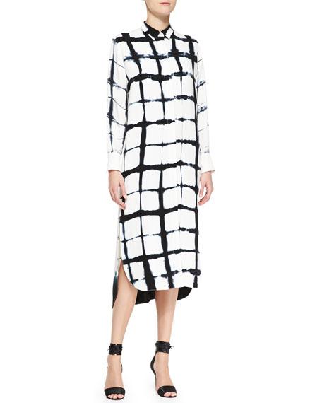 Long-Sleeve Printed Shirtdress, White/Black