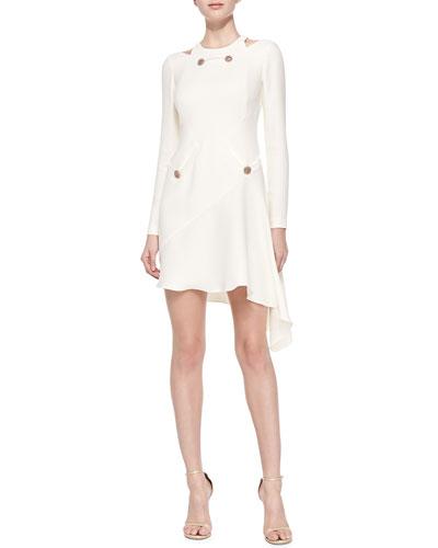 Versace Cold-Shoulder Asymmetric-Hem Dress