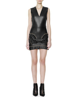 Versace Studded Fringe-Hem Leather Dress
