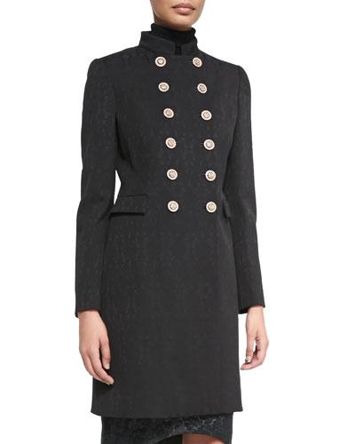 Versace Mandarin-Collar Double-Breasted Coat