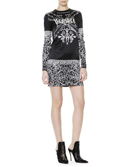 Versace Tattoo-Print Long-Sleeve Dress