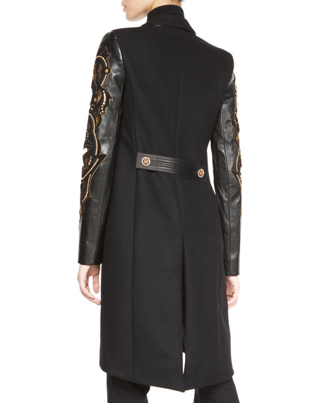 Embroidered Leather-Sleeve Coat