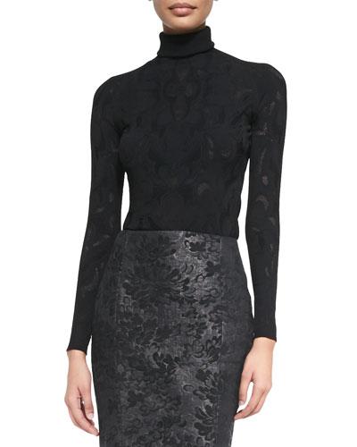 Versace Lace-Texture Turtleneck Top