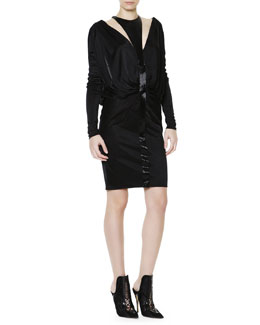 Versace Long-Sleeve Liquid Jersey Beaded Cutout Dress