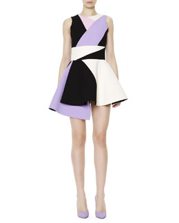 Fausto Puglisi Sleeveless Colorblock Uneven-Hem Dress