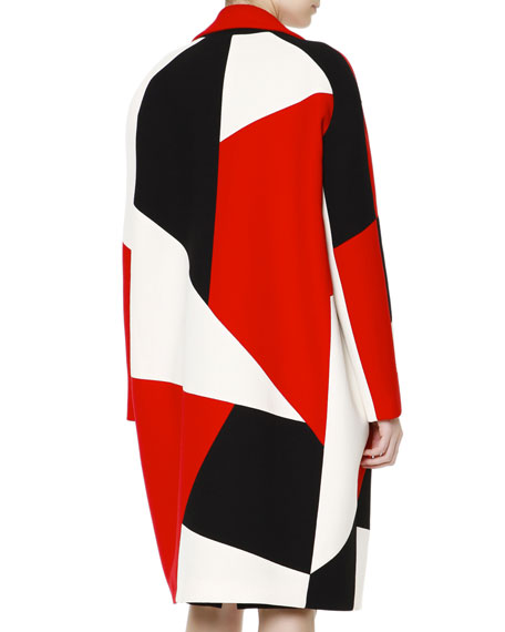 Wide-Lapel Zigzag Colorblock Caban Coat