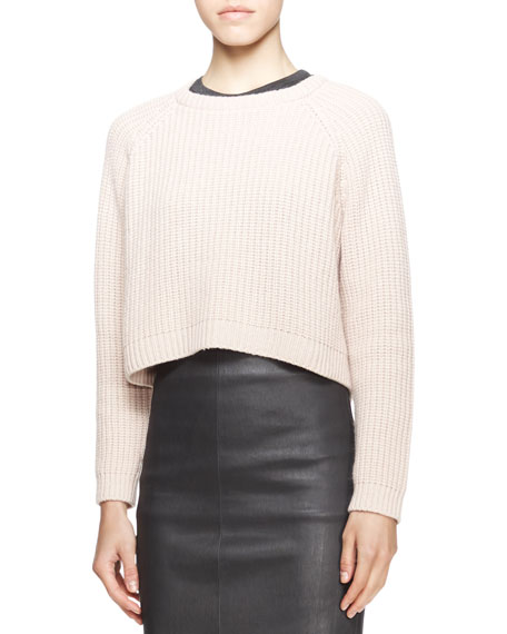 Long-Sleeve Ribbed Raglan Sweater