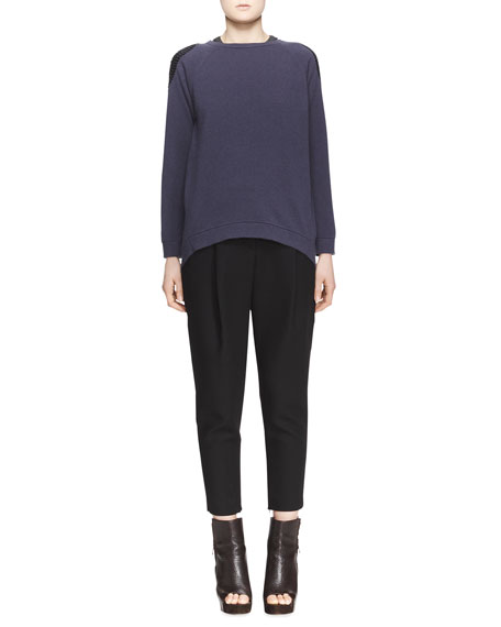 Relaxed Pleated Ankle Pants