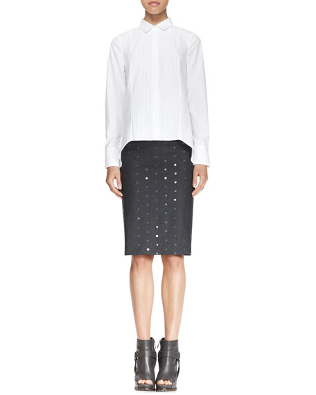 Spaced Paillette Pencil Skirt