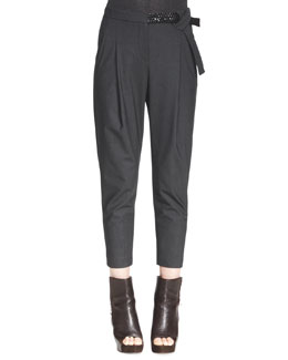 Brunello Cucinelli Embellished-Belt Ankle Trousers
