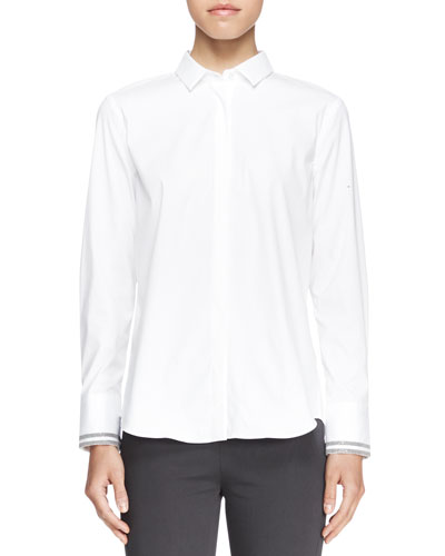 Brunello Cucinelli Long-Sleeve Poplin Blouse