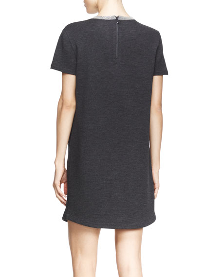 Shimmer Trimmed Crewneck Dress